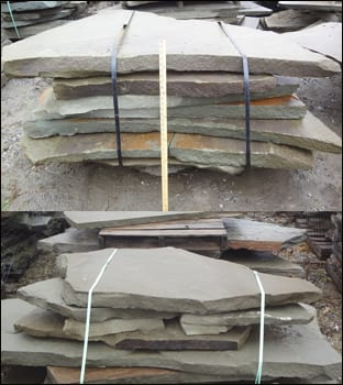 Picture of oversized, irregular pieces of blestone for walkways and patios