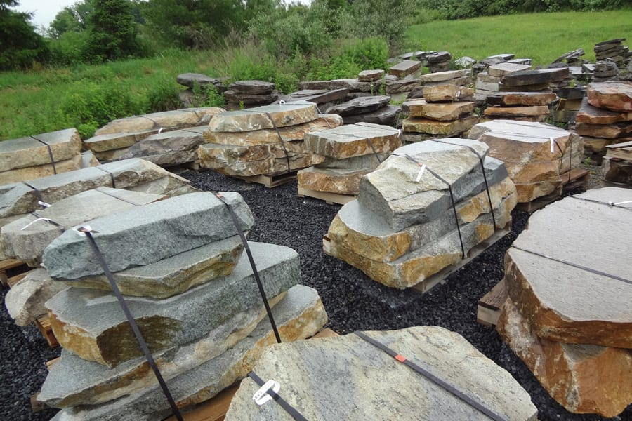 Examples of our Chapel Ridge steps inventory at our Warren County, NJ stone yard