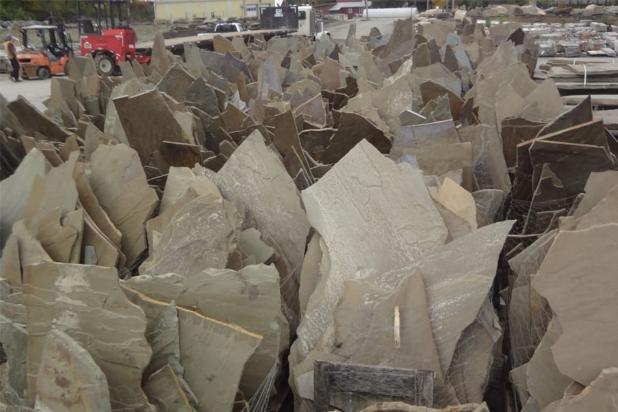 Part of our irregular flagstone inventory area at Wicki Stone