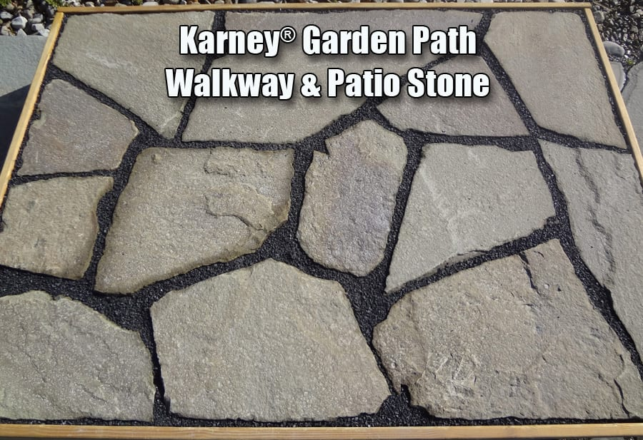 Example of Karney walkway and patio stone in a garden path arrangement with stone dust in the seams.