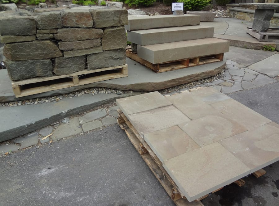 Karney in 3 of its many forms, Snapped wall stone upper left, dimensional trade upper right, pattern walkway and patio stone lower right