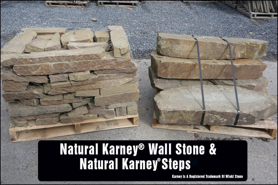 Karney® is a big family of stone at Wicki Stone, and includes numerous wall stone choices as well as multiple matched natural stone step choices.