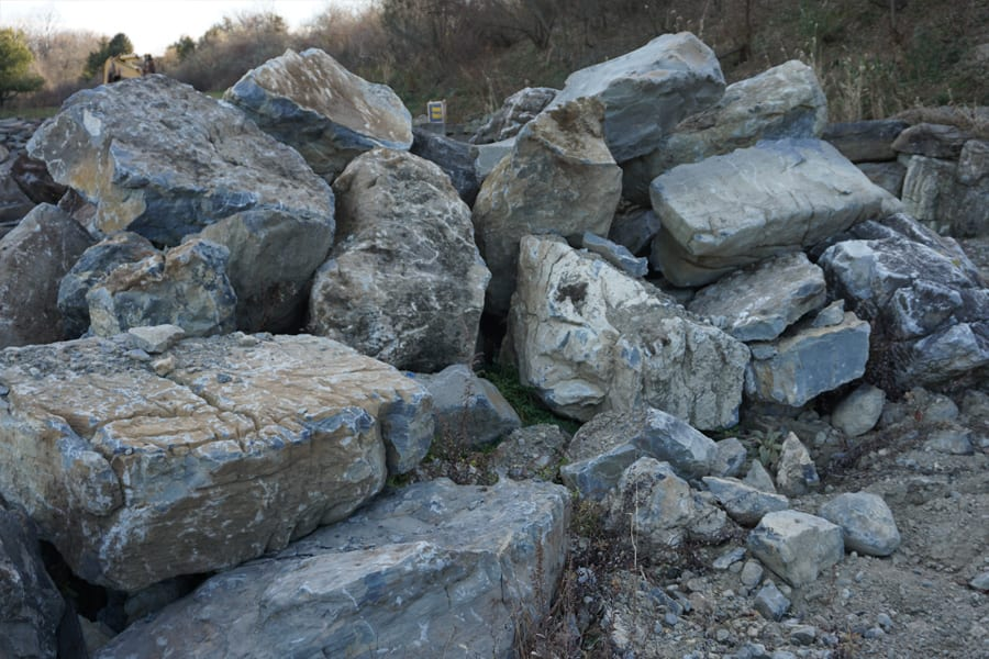 Moss Rock Boulder inventory in our New Jersey stone yard. You can see how big some of these pieces are - well past 3 feet tall ro wide and weighing several tons.