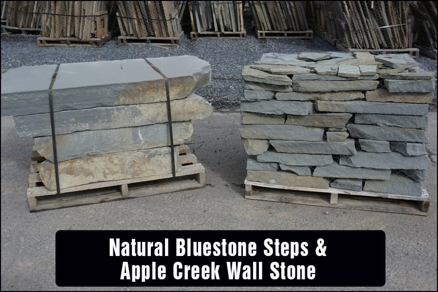 Apple Creek Blue wall stone goes well with the entire bluestone family of products we carry at Wicki Stone, including these steps