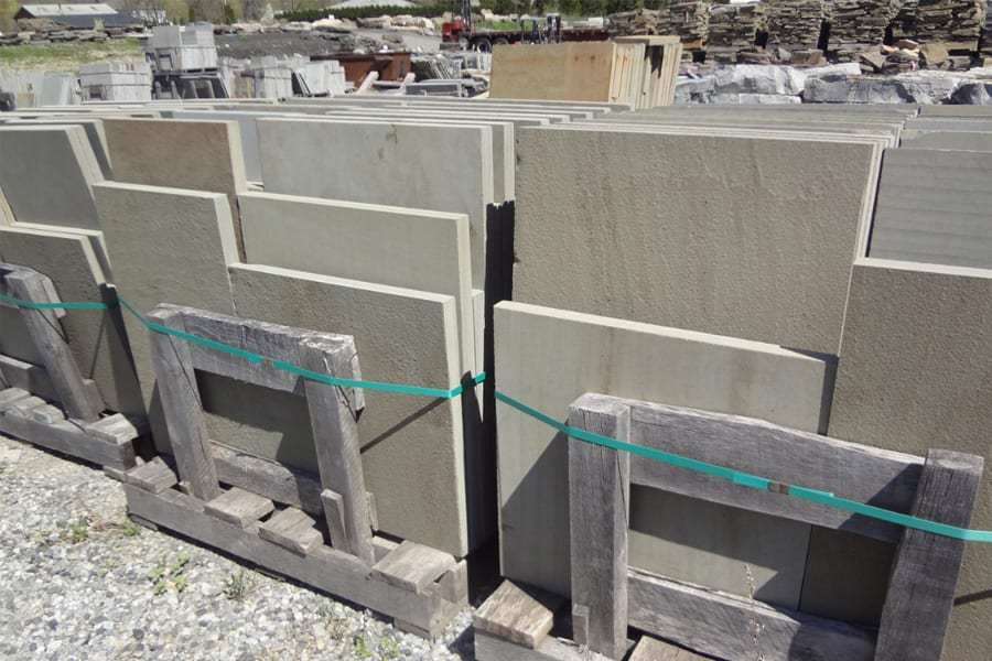 """A sample pallet of 1.5"""" walkway and patio stone."""