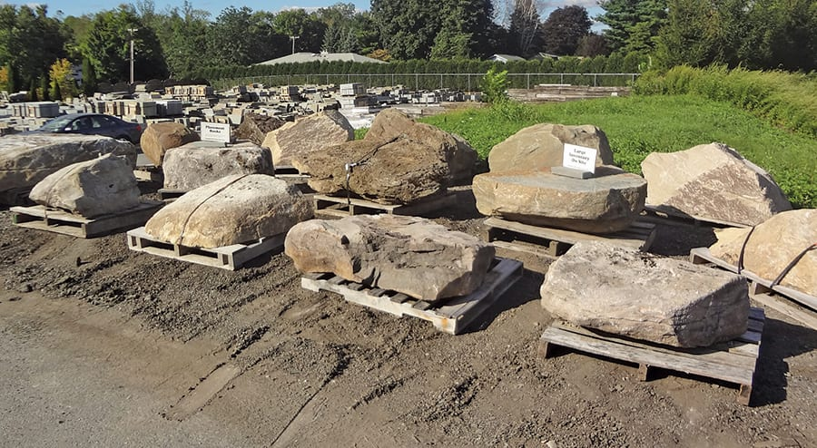 Placement rock inventory at our Warren County, New Jersey stone yard