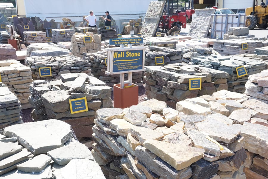Our wall stone display area allows you to see our palleted wall stone choices side by side.