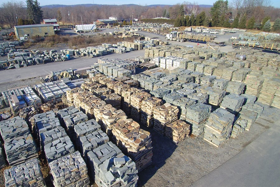 Part of our wall stone inventory area at Wicki Stone.