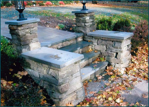 The stone is extremely easy to work with and can be used in smaller applications like lamp posts.