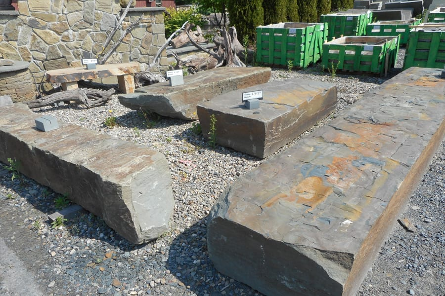 Stone Becnch rock examples at our New Jersey stone yard