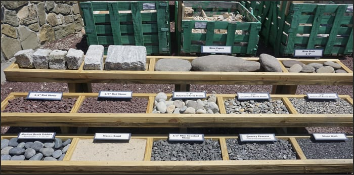 Our decorative gravel display at Wicki Stone
