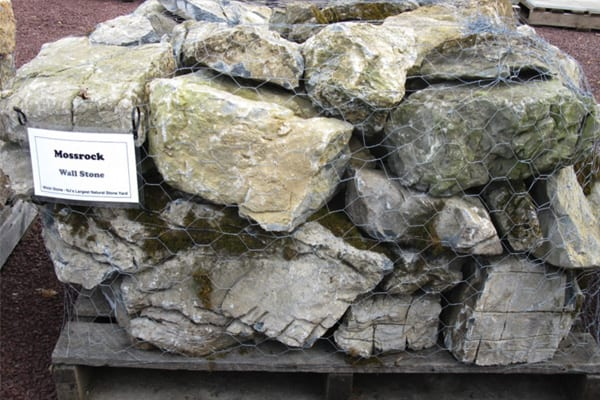 Example of smaller, palleted Moss Rocks without Moss that we sell