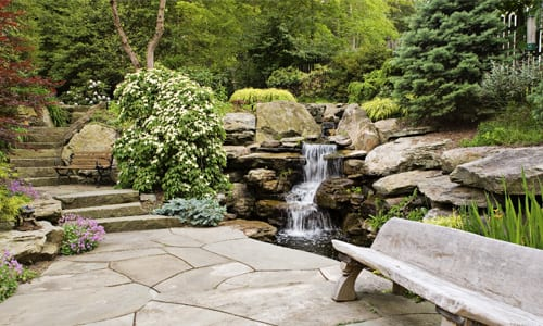 landscape stone examples in this New Jersey landscape