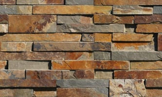 Redwood colored thin veneer building stone