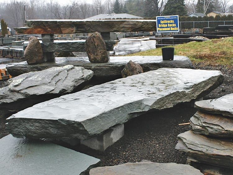 Examples of bridge rocks in our New Jersey stone yard