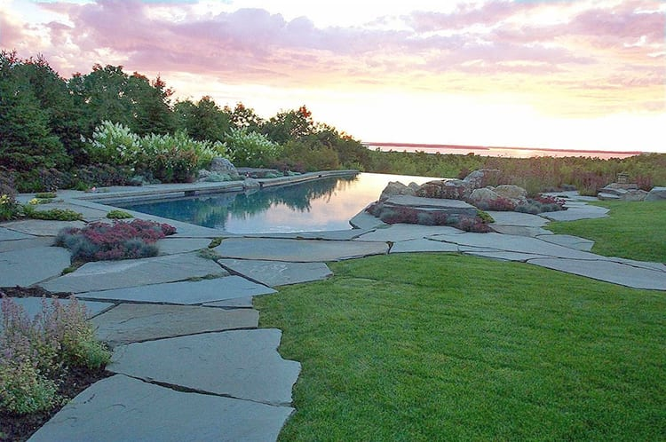 Large stone slabs used to make a pool deck