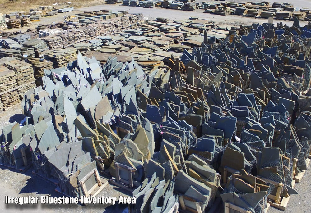 Our irregular bluestone and karney stone inventory area