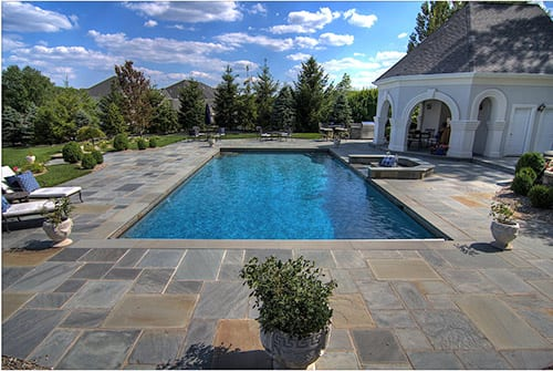 Bluestone full range or off color stone used for a pool deck