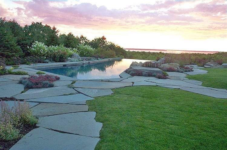 Large stone slab for garden paths