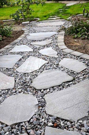 garden path stepping stones with gravel in between