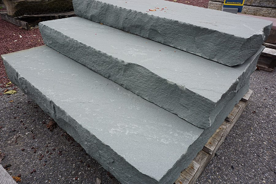 Snapped edge stone step