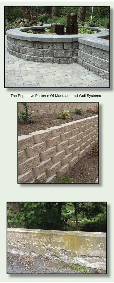 Concrete wall blocks versus natural stone walls