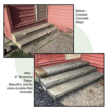 Bluestone steps replace deteiorating concrete steps