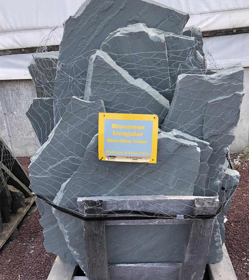 Large photograph of blue colored irregular bluestone for walkways and patios